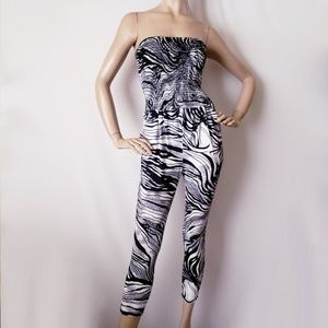 Poetry Zebra Print Strapless Jumpsuit Size Small